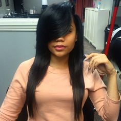 STYLIST FEATURE  Love these #bangs on this install done by #AtlantaStylist @EthelRey❤️ Sexy #VoiceofHair _______________________________ Find more #hairspiration at VoiceOfHair.com in our free eBook