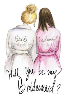 Bridesmaid PDF Download Brunette printable cards Blonde bride, brunette bridesmaid