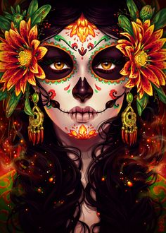 Commission: Dia De Muertos by dimary, Digital Painting, Day of the Death, Inspirational Art Day Of The Dead Drawing, Day Of The Dead Artwork, Day Of The Dead Skull, Day Of The Dead Tattoo For Women, Day Of The Dead Woman, Sugar Skull Mädchen, Sugar Skull Makeup, Sugar Skull Artwork, Sugar Skull Painting
