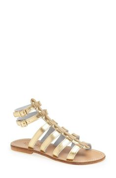 Pairing these metallic gladiator sandals with a cute pair of cutoff shorts.