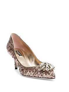 Dolce & Gabbana - Crystal-Embellished Paillette Point Toe Pumps