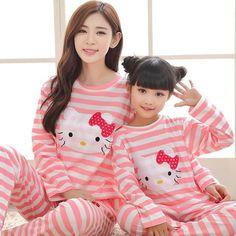 Family Pijamas Set Matching Mother and Daughter Clothes Mom Son Baby Pijamas Mother Daughter Dresses Matching, Mom Daughter, Co Ord, Matching Outfits, Pajamas, Kitty, Baby Things, Womens Fashion, Style