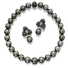 GREY CULTURED PEARL AND BLACK DIAMOND NECKLACE AND PAIR OF MATCHING EAR CLIPS | Lot | Sotheby's