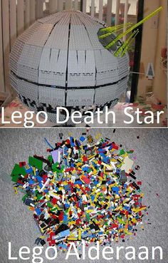 Lego Death Star & Lego Alderaan  I'm crying laughing - this is terrible and brilliantly hysterical