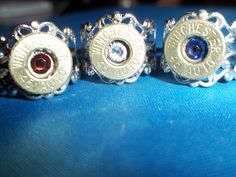 Bullet casing jewelry with Swarovski crystals.Jewelry Design by Sherry on Facebook.