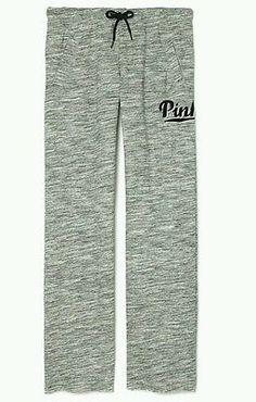 Victorias Secret PINK Boyfriend Sweatpants Embroidered Logo Marled Gray XS