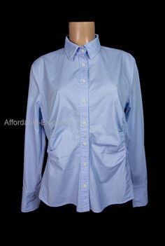 ESCADA Pleated Shirt 46 XL Slim Fit Light Blue Cotton Long Sleeve Career Work #ESCADA #ButtonDownShirt #Career
