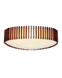 "Decorate your big rooms with this great 25 6/7"" Modern Drum Shape Nut-Brown Flush Mount with Double Shades. It is so beautiful that it has a glass shade with many nut-brown wooden sticks surrounding it. With its fine materials, it can be very durable in your house. Its light is also very soft and the elegant exterior shade can also create beautiful light effect. This large flush mount will be the focus of your room."