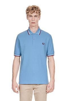 81d0aac6d Fred Perry - M12 Mid Blue   White   Maroon Fred Perry Shirt