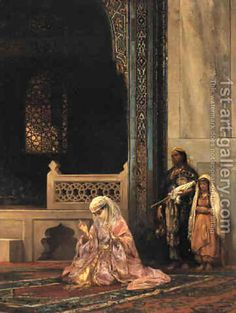 Stanislaus von Chlebowski:Turkish Lady Praying in the Green Mosque, Bursa