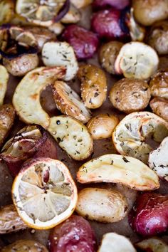 Roasted Fingerling and New Potatoes with Rosemary from http://www.acouplecooks.com/2011/04/roasted-fingerling-and-new-potatoes-with-rosemary/