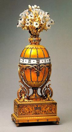 "The term ""Fabergé Egg"" has become a synonym of luxury. The original pre-Bolshevik revolution eggs sell for millions of $$$. The eggs represent imperial Russia. Tsar Alexander asked Fabergé to create an egg each year & his son, the future Tsar Nicholas II, doubled the order to 2 per year for his wife & his mother. The eggs are made of precious metals, decorated enamel & gemstones. The largest collection outside of Russia is at the Virginia Museum of Fine Art in Richmond."