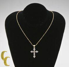 "14k Yellow Gold Diamond Cross Pendant w/ Unique 15.5"" Yellow Gold Bead Chain #ADL #Pendant"
