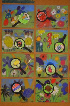 Spring Art Projects, School Art Projects, Kindergarten Art, Preschool Art, First Grade Art, Bug Art, Ecole Art, Insect Art, Art Lessons Elementary