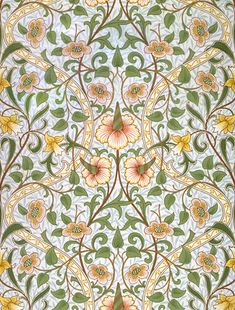 Daffodil wallpaper, by William Morris. Paper. England, late 19th century.