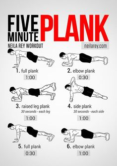 Neila Rey's Five Minute Plank Workout. To gain the maximum out of your time in this exercise, tense your abdominal muscle group at each rep. #fitness #exercise #workout #printable #abs #chest #glutes #core