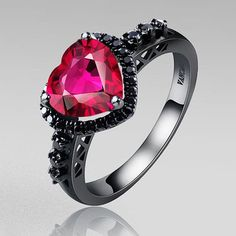 Black Silver Wedding Ring Heart Synthetic Ruby 925 Sterling Silver Black Engagement Ring for Women