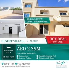 HOT price!! - DIRECT FROM OWNER - NO COMMISSION  4 Bedroom villa at AED 2.35M ONLY! in Al Reef where you can enjoy every bit of comfort and savor quality time with your family. Call us for more details and viewing: 050 913 8969 | 80014444  #AlReef #AbuDhabi #UAE #Villa #RealEstate #AbuDhabiRealEstate #AbuDhabiProperties #NationwideProperties #Investment #PropertiesSolution #AlReefVillas #PropertyForSale #AbuDhabilife #LuxuryIsUs