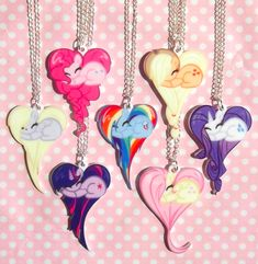 Super Cute My Little Pony Necklaces Cute ponies curled up sleeping forming the shape of a heart <3