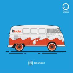 Kinder Van VW T1 Flat Design