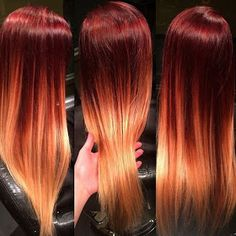 Sun Rises and Sets on Your Hair! The Sun Rises and Sets on Your Hair!The Sun Rises and Sets on Your Hair! Hair Color Dark, Ombre Hair Color, Cool Hair Color, Hair Colors, Grey Ombre, Cheveux Oranges, Sunset Hair, Fire Hair, Fire Ombre Hair