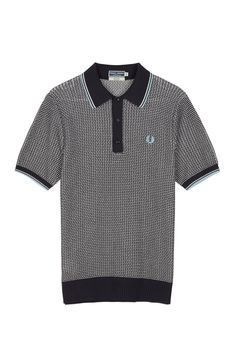 Fred Perry - Reissues Two Colour Texture Knit Shirt Navy- $225
