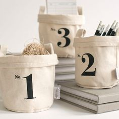 Set of 3 Cotton Canvas Bucket: No. (SMALL) Storage/Gift Bucket 4 high Printed on recycled canvas cloth with soy-based inks. Our canvas buckets are great for display, gift presentation and storage. Storage Buckets, Diy Sac, Diy Accessoires, Small Canvas, Organizer, Getting Organized, A Boutique, Textiles, Cotton Canvas