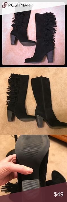 Steve Madden Suede Fringe Boots. Gorgeous black suede fringe boots in almost new condition. Just some slight wear to the heels. Otherwise pristine condition. Steve Madden Shoes Heeled Boots