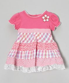 Love this Pink Gingham Patchwork Ruffle Dress - Infant, Toddler & Girls by Youngland on #zulily! #zulilyfinds Inspiration