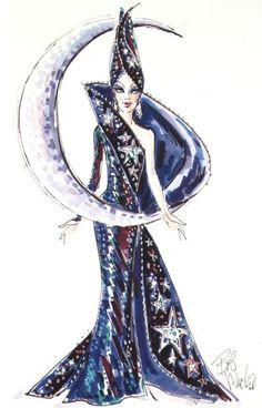 Bob Mackie sketch of Moon Goddess Barbie.
