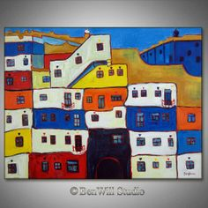 ORIGINAL Contemporary Art VIENNA Austria Modern Painting HUNDERTWASSER Colorful Blue White Yellow Architecture Art 36x28 by BenWill