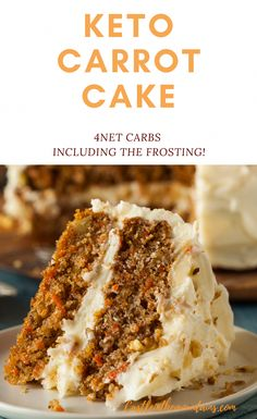 low carb yum Scrumptious Keto Carrot Cake ~ 4 Net Carbs Including the Frosting. This amazing layered cake is a satisfying dessert without all of the carbs. Low Carb Sweets, Low Carb Desserts, Healthy Desserts, Easy Desserts, Low Carb Recipes, Dessert Recipes, Dinner Recipes, Healthy Recipes, Diet Desserts