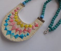 Colorblock bib necklace embroidered banner by AnAstridEndeavor