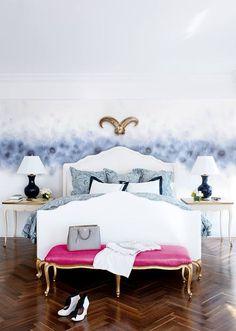 Master bedroom, rams head, blue skies.