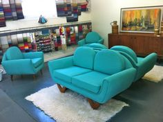 RETRO 60S VINTAGE DANISH PARKER FLER EAMES ERA LOUNGE SOFA COUCH CHAIR 2X2 + 2X1