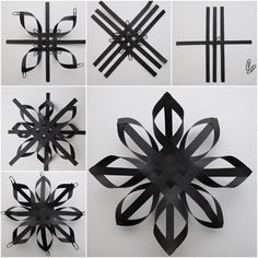 49 ideas diy kids crafts winter paper stars for 2019 Christmas Origami, Christmas Snowflakes, Christmas Crafts, 3d Paper Snowflakes, Black Christmas, Paper Christmas Decorations, Snowflake Ornaments, Handmade Christmas, Diy Christmas Paper Decorations