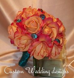 Sparkly accents in the flowers are cool and a neat idea to incorporate the second color.  coral purple teal wedding colors - Google Search