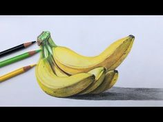 Once you master five techniques in color pencil drawings it becomes easy for any am ateur. A beginners color pencil project drawing a pear with 7 colors duration. Bananas Drawing In Color Pencils Realistic Banana Drawing Depending on the brand…Read More→ Colored Pencil Artwork, Color Pencil Art, Colored Pencils, Fruits Drawing, Food Drawing, Drawing Step, Realistic Drawings, Colorful Drawings, Blue Drawings