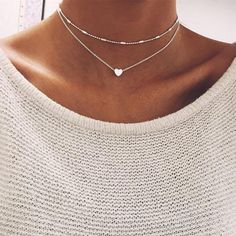 Super dainty and cute double heart choker necklace. Achieve the sweet and classic look with these fine silver lines. Only $11.99 use code TAKE15 for 15% off at checkout.