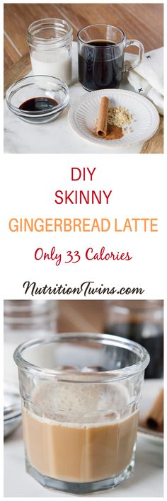 Healthy Homemade Gingerbread Latte | Easy DIY Recipe | Lightened up with only 33 calories!  | delicious all year round! | Made with strongly brewed coffee! | For MORE RECIPES, nutrition and fitness tips, please SIGN UP for our FREE NEWSLETTER www.nutritiontwins.com and check out our 21 day body reboot!