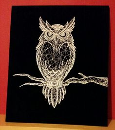 Owl string art with black baize background and white thread.