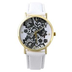 Sanwood Damen Lace Gedruckt Uhr Armbanduhr Watch (Weiß) - http://uhr.haus/sanwood/weiss-sanwood-damen-lace-gedruckt-uhr-armbanduhr