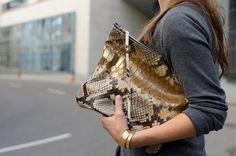 Oversized Leather Zipper Clutch Large Snake by PatkasBerlin