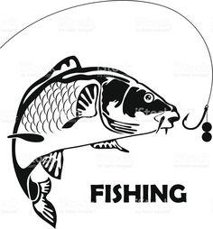 carp fishing, vector illustration royalty-free stock vector art
