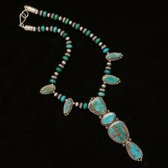Turquoise & Silver Beads Necklace with 4 Stone Drop