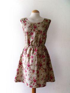 Natural beige floral dress floral print summer dress par luminia, £29.00