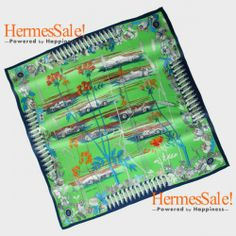 Hermes Les Bolide 140cm Green Cashmere Shawl