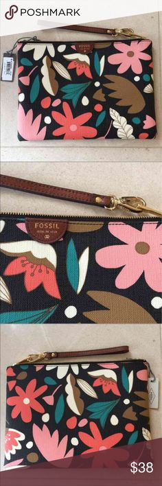 ❤️FOSSIL dark floral large wristlet❤️ Retail: $50 ❤️ PRETTY!!! ❤️❤️❤️  ***NOT from the outlet store. All Fossil wallets in my store are from department stores like Nordstrom or Macy's.   A dark floral print adds a fresh touch to this printed PVC wristlet.  The gorgeous wallet is large enough to hold a Samsung Galaxy S4®, iPhone® 6, and iPhone 6 PLUS.  6 Credit Card Slots  Exterior Material: 100% Polyvinyl Chloride (PVC) Closure: Zipper Handles/Straps: 1 Wristlet Strap.  Approximate…