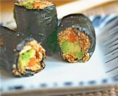 """Raw Nori Rolls with """"Salmon"""" & Ginger-Miso Paste: a great Grain-free alternative to rice--vegan, too!"""