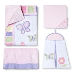 The Sweet Jojo Designs 11pc. Butterfly Crib Set brings a pretty touch to your infant's bedroom. The feminine colors and sweet embroidered butterfly and flower designs on this crib bedding is perfect for your girly girl. The set includes a toy bag, comforter, diaper stacker, pillow, fitted sheet, 3 piece wall hanging set, dust ruffle and 2 valances. The crib bedding will fit most cribs and crib mattresses. The Sweet Jojo Designs crib set meets CPSC standards and is JPMA certified. All ...